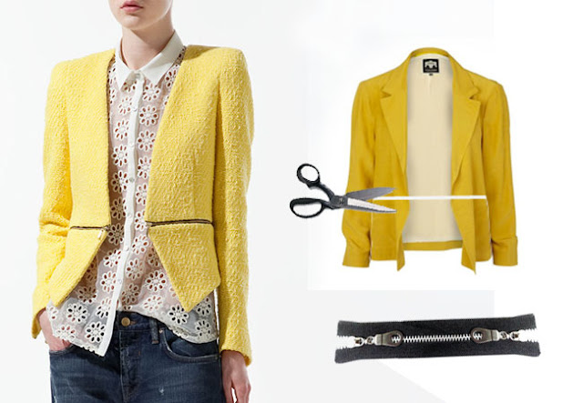 diy inspiration,  diy, cloth diy, tweed jacket,bouclè jacket, zipper jacket, zipped jacket,cutout jacket,cutout diy, zara, chanel, burberry prorsum, spring 2012