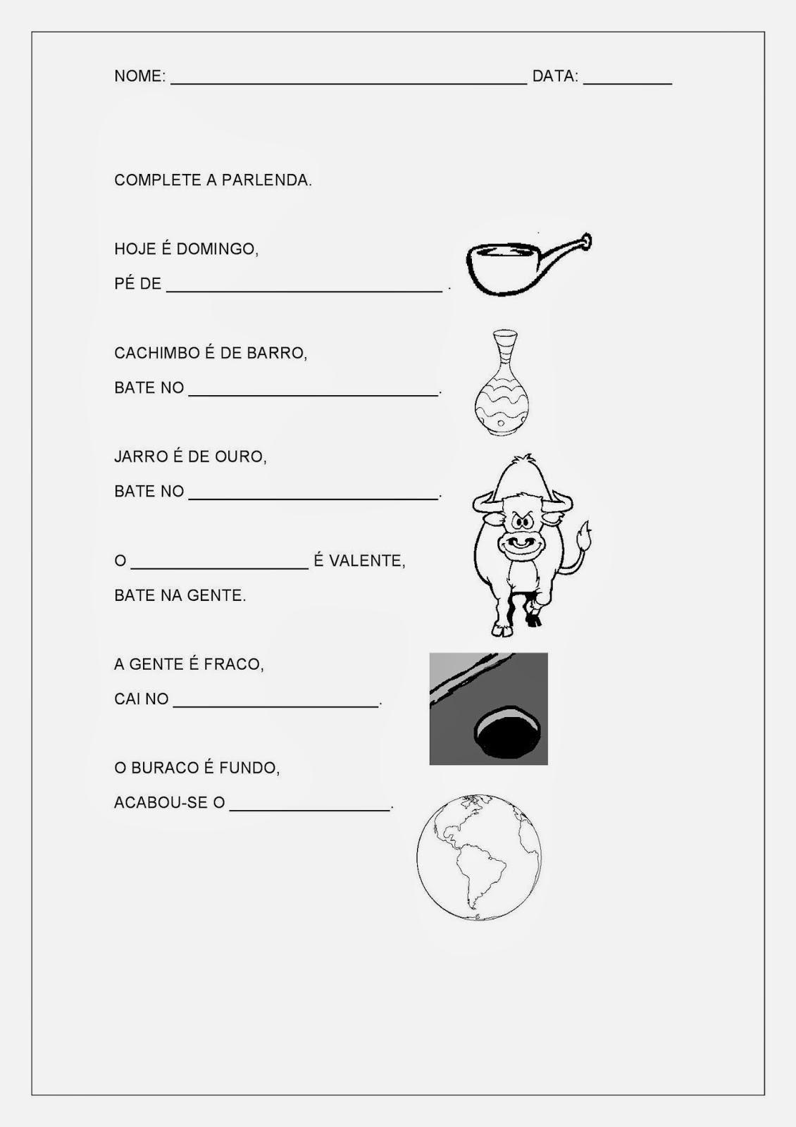 Atividades Educativas de Português - Dedo mindinho - tiras