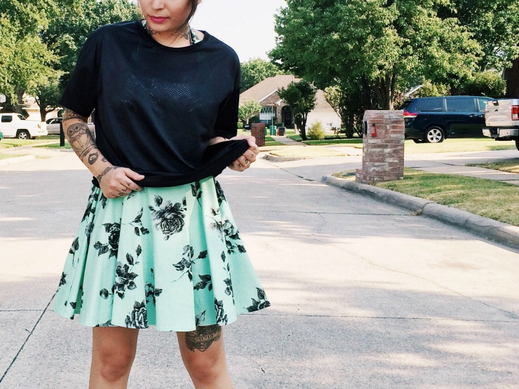 Dress down outfit: Modcloth dress and sneakers