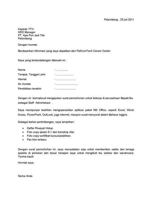 contoh surat lamaran kerja terbaru 2014 contoh surat lamaran kerja bahasa indonesia dan inggris