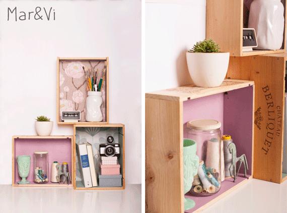 como hacer una estantería con cajas de vino