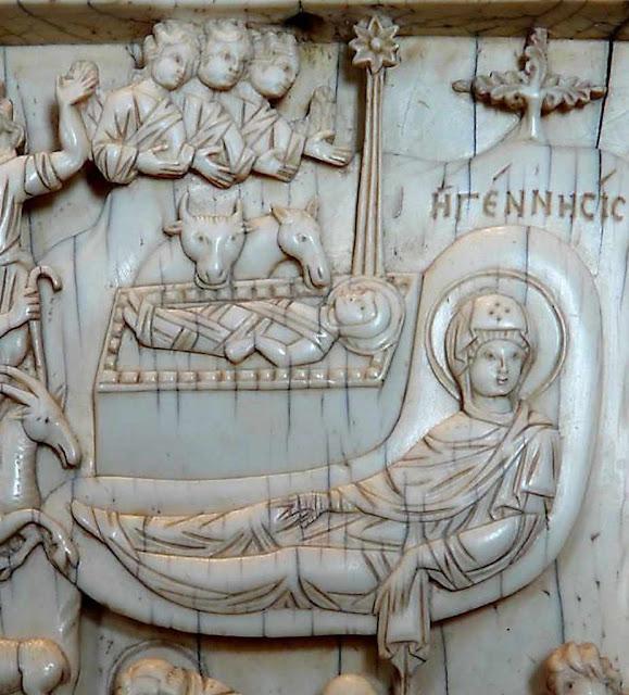 Presépio bizantino em marfim. Museus Vaticanos