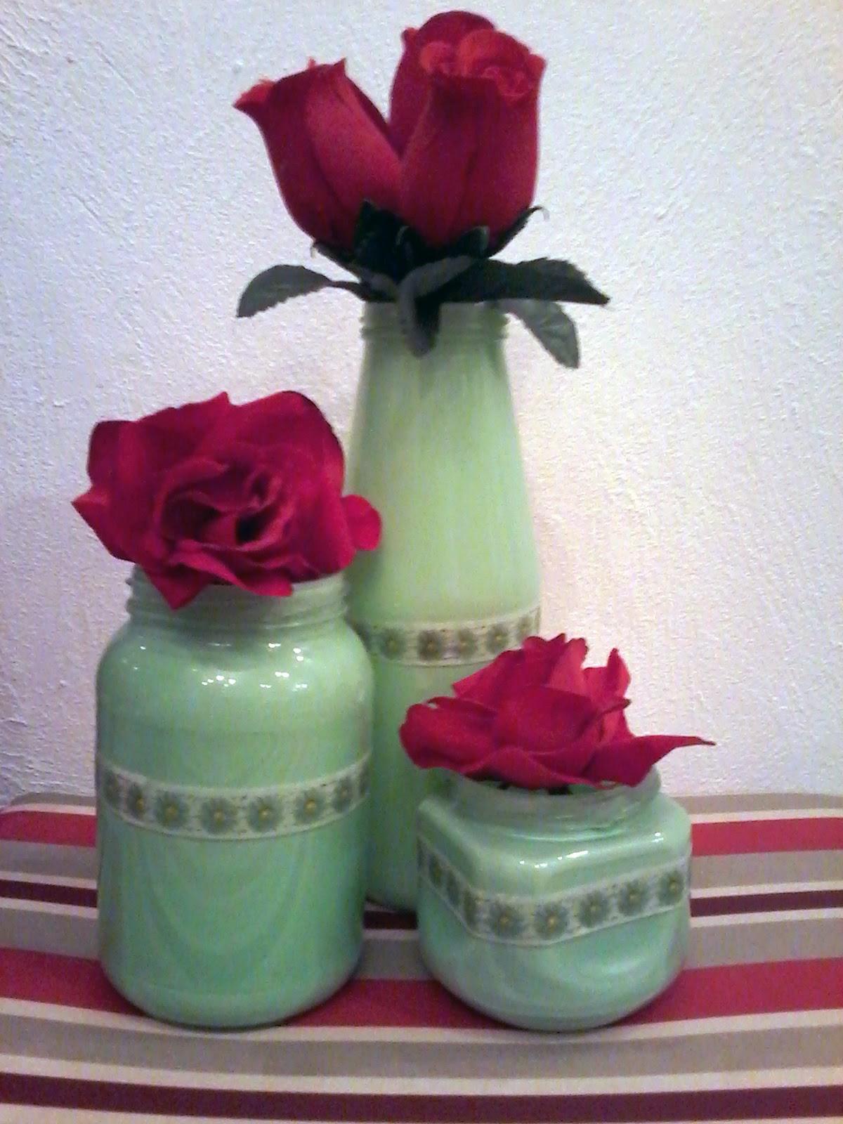 centro de mesa, vasos, reciclagem, decoração, festa
