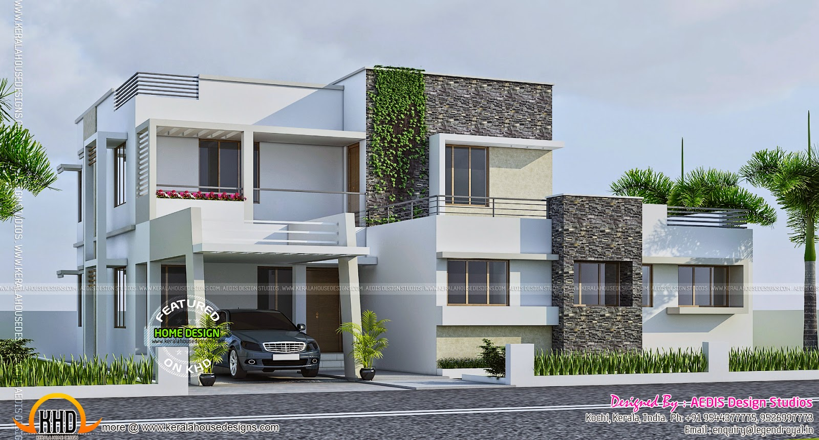 Contemporary 289 square yards house elevation kerala 200 yards house design