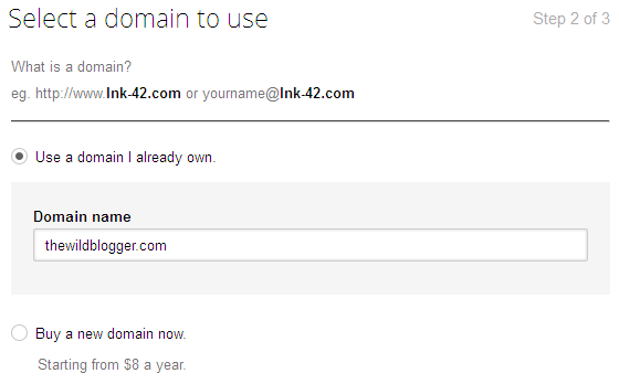 Select a domain to use