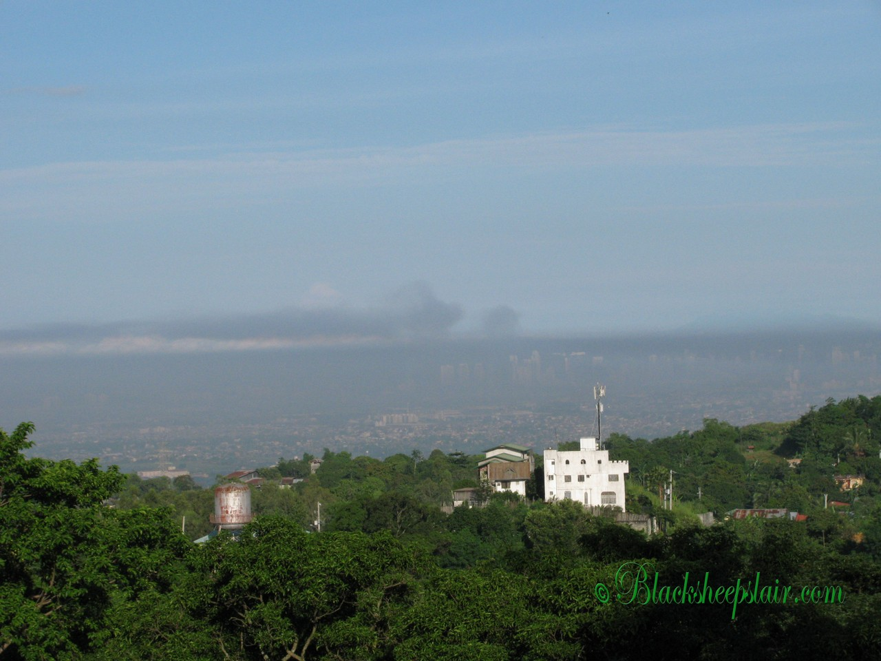 Look at the pollution in Manila, I can't even see the buildings. So