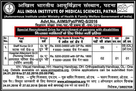 AIIMS Patna SRD Staff Nurse & Hospital Attendent Recruitment January 2016