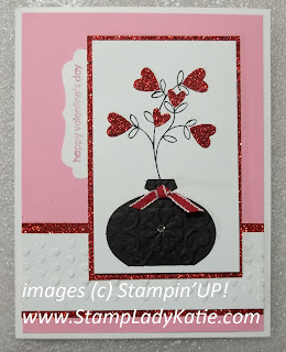 Valentine card made with Stampin'UP!'s Ornament Punch used as a Vase. Made by StampLadyKatie
