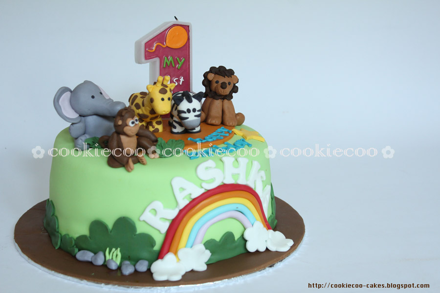 cookiecoo Zoo animals cake for Rasha