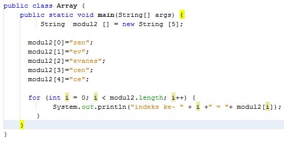 Pengertian Array Pada Bahasa Pemrograman Java dengan Contoh