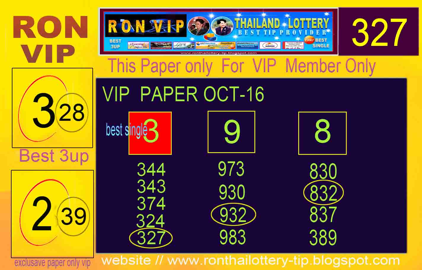 Ron Thailand Lottery Last Update Hot Vip Paper Oct