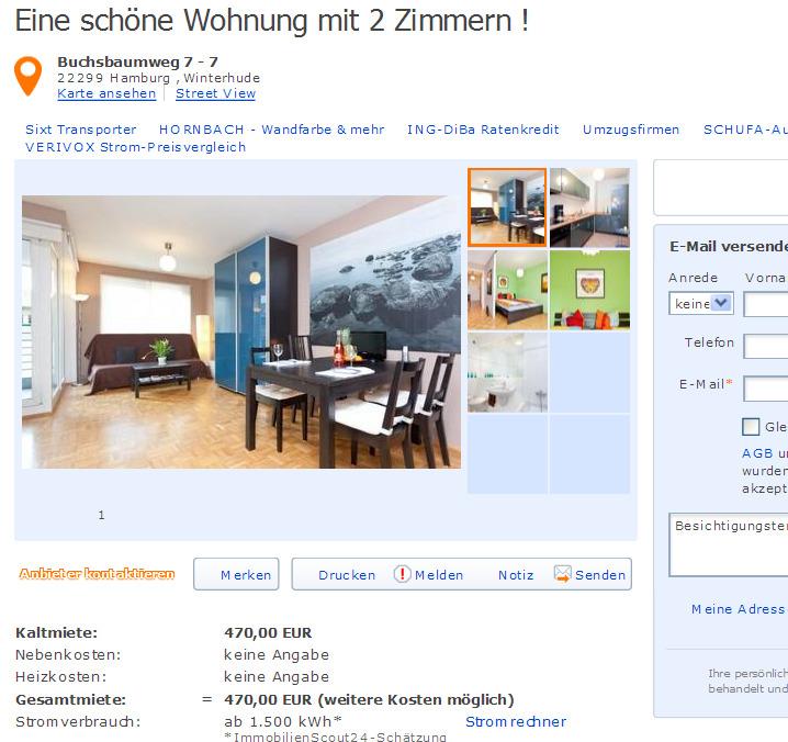 Moderne 2 – Zimmer – Wohnung