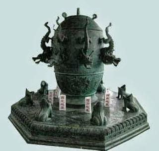 сигнальный приемник инфразвука, древний сейсмограф в виде кувшина с драконами и лягушками
