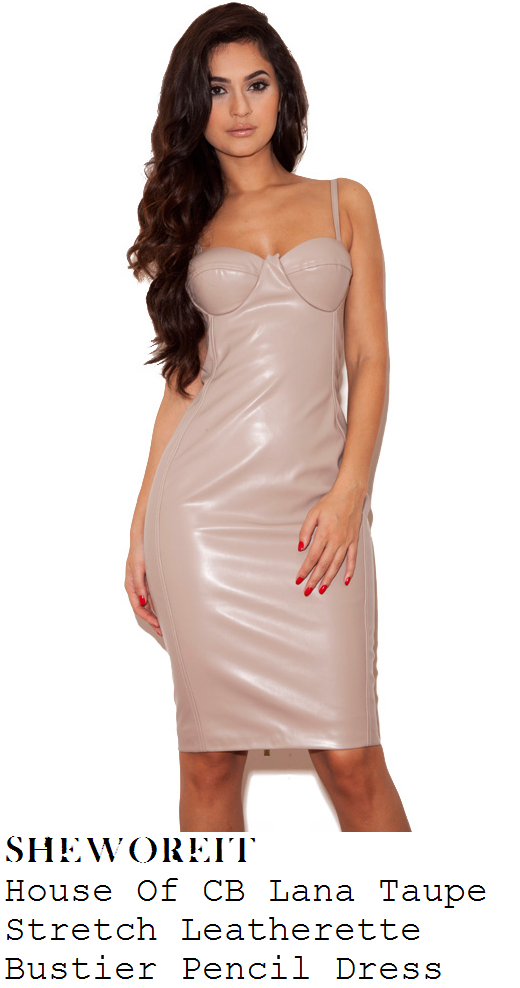 vicky-pattison-nude-beige-faux-leather-sleeveless-pencil-dress