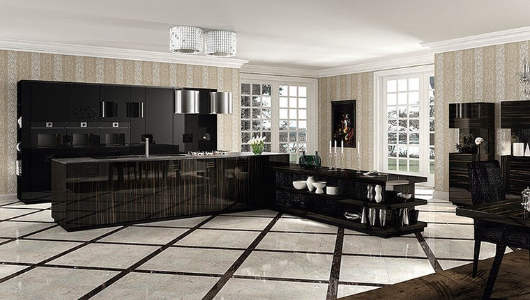 Luxury Italian black kitchen designs, ideas 2015, sets, Italian kitchens
