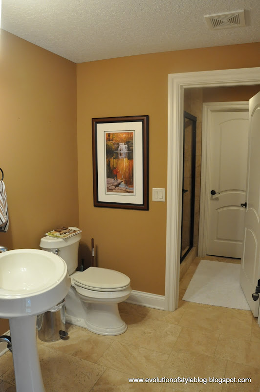 So, to begin with, the bathroom was the same baby poo brown as much of  title=