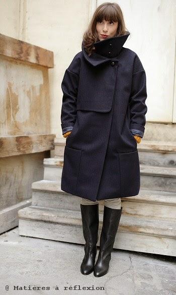 Manteau femme en laine bleu marine Karine Jean