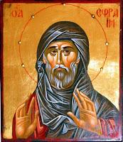 Sfantul Efrem Sirul, icoana pictata pe lemn