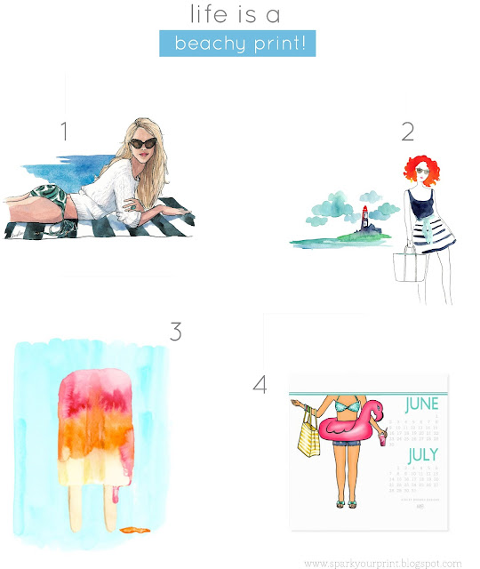 beach watercolor prints I mariana hodges for sparkyourprint.blogspot.com
