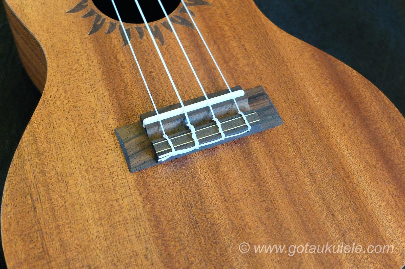 Baton Rouge V2C Sun ukulele bridge