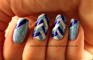 Blue Fishtail Manicure with Lush Lacquer Dreamsicle