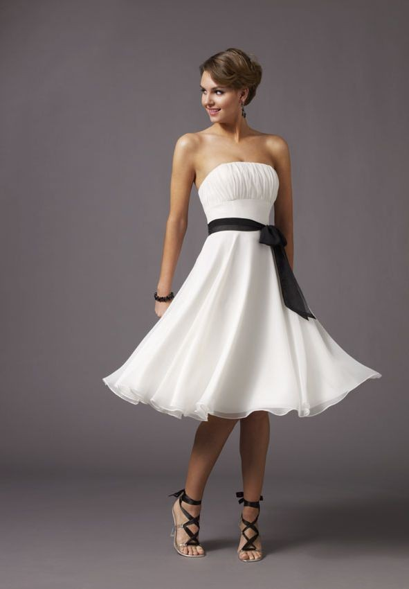 simple white bridesmaid dress with black sash