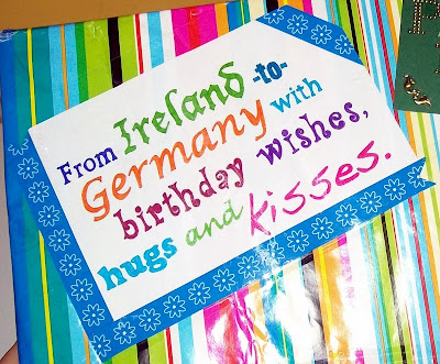 thats the way the cookie crumbles, mail, snail mail, post, mail art, package, ireland, germany, with love, birthday, birthday wishes, art, deco tape, hugs, kisses