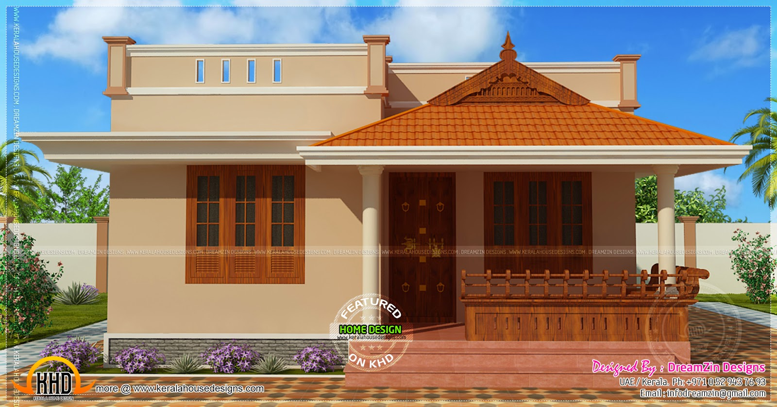 Small house single storied in 1150 square feet kerala for Small house design pictures