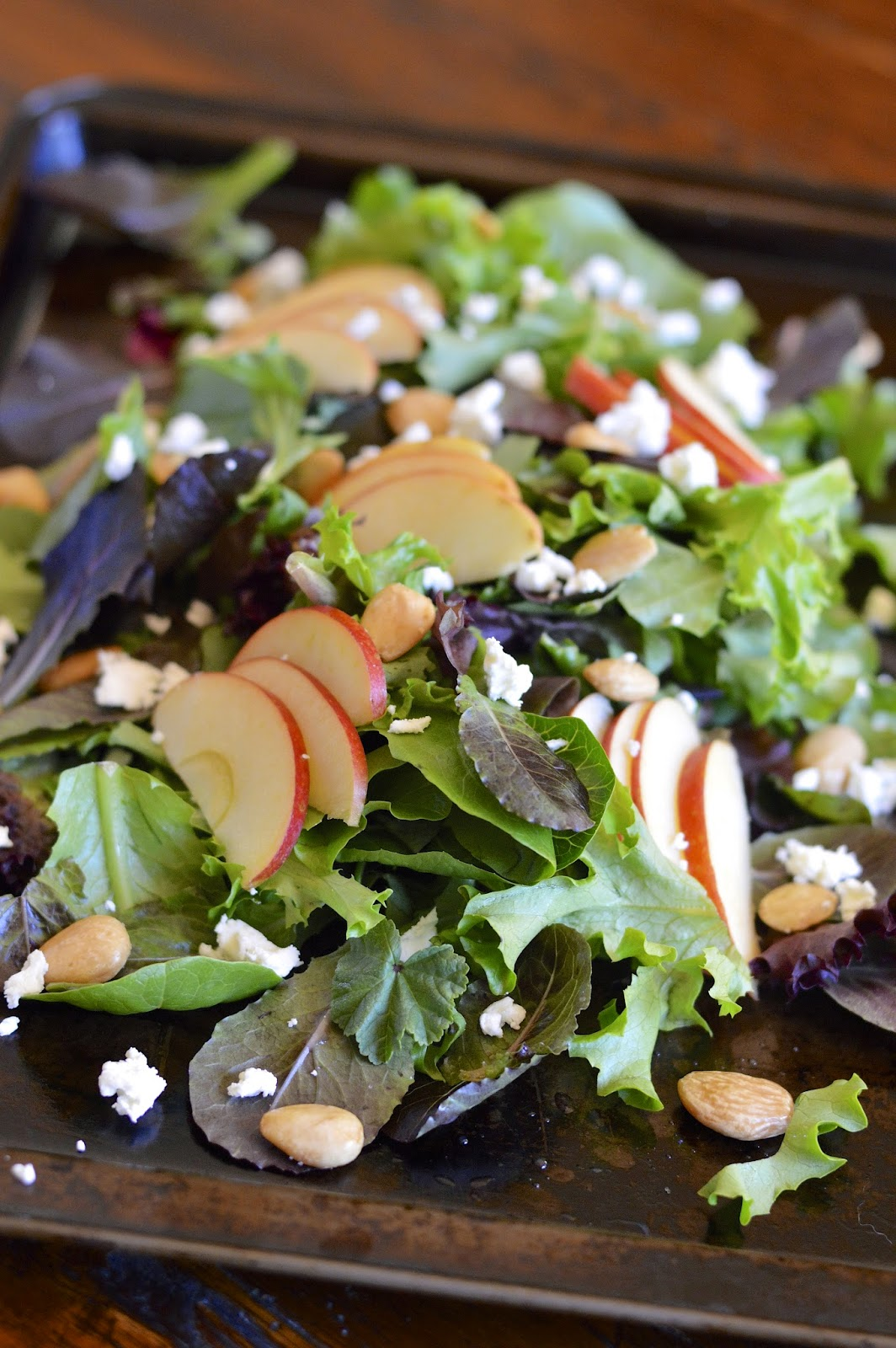 Apple Almond Salad with fresh greens, Marcona almonds and fresh baby greens