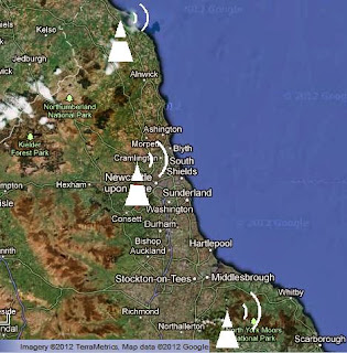 Satellite view of the Tyne Tees region with main transmitter locations
