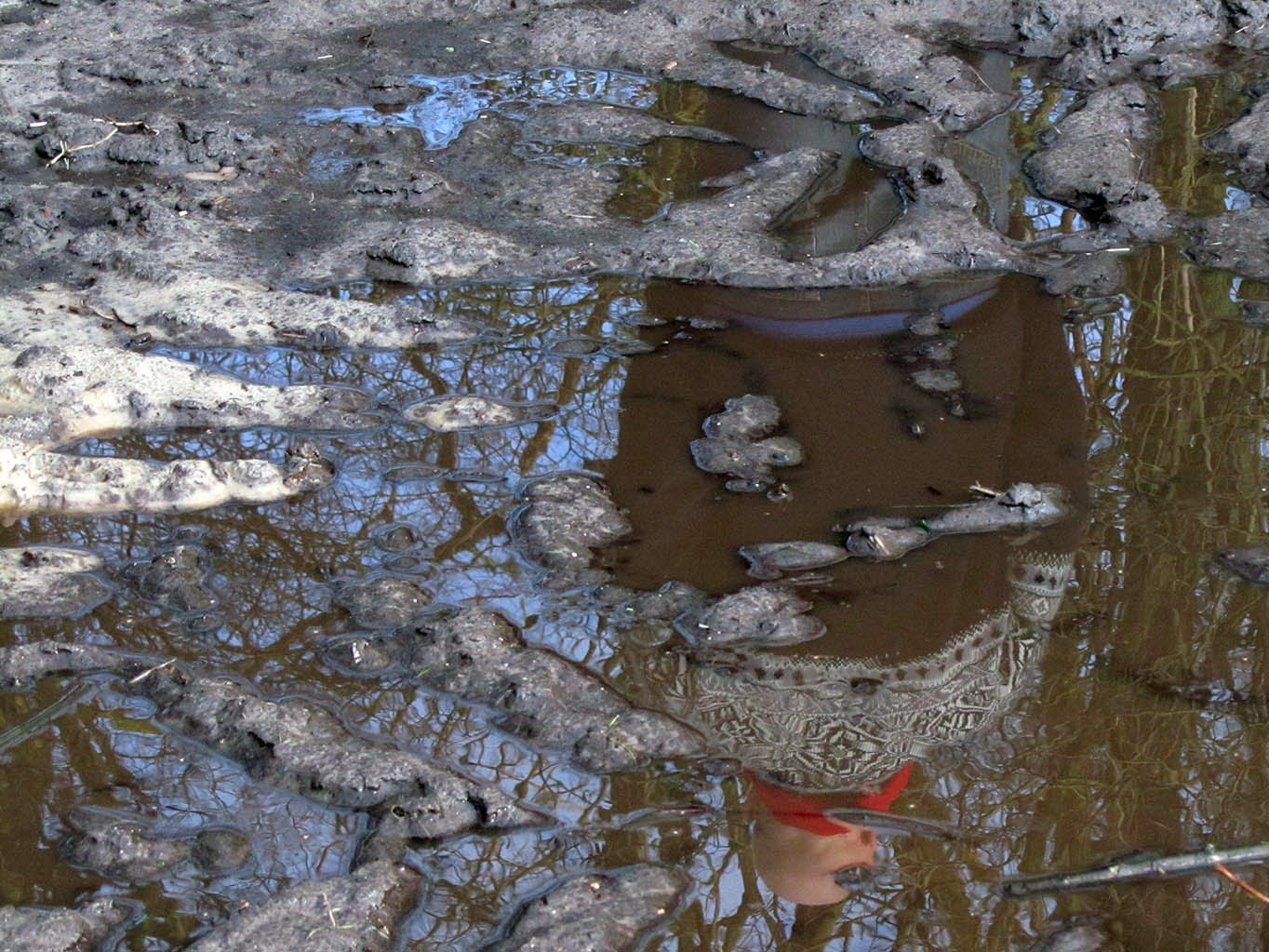 reflection of a man in a muddy pool