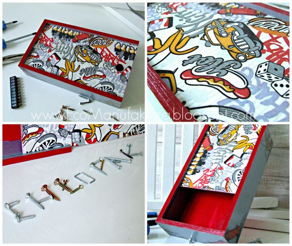 pomysł na prezent handmade dla chłopca - pudełko/piórnik decoupage