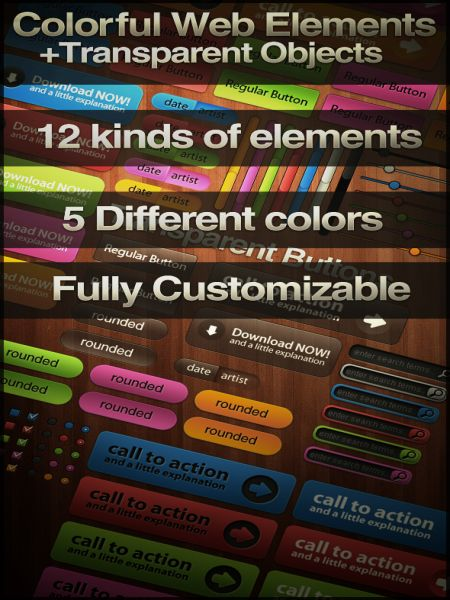 70+ Free Colored PSD Web Buttons Pack Download