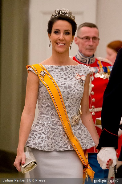 Princess Marie of Denmark attends a State Banquet at Christiansborg Palace in Copenhagen, during The State visit of King Willem-Alexander, and Queen Maxima of The Netherlands