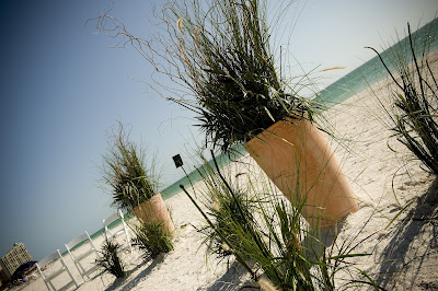Beach Wedding Ceremony Flowers - Grasses in Urns