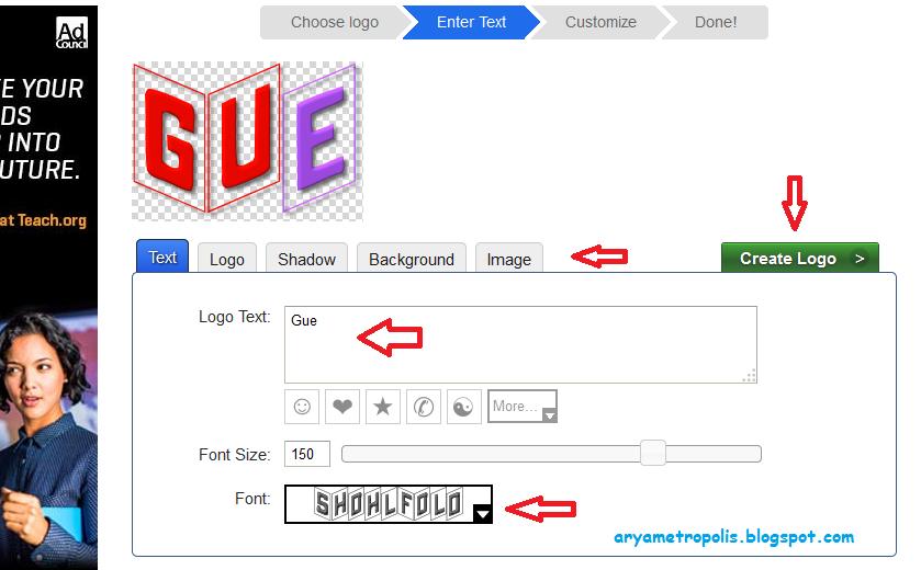 Membuat logo teks multi color (warna warni) secara online