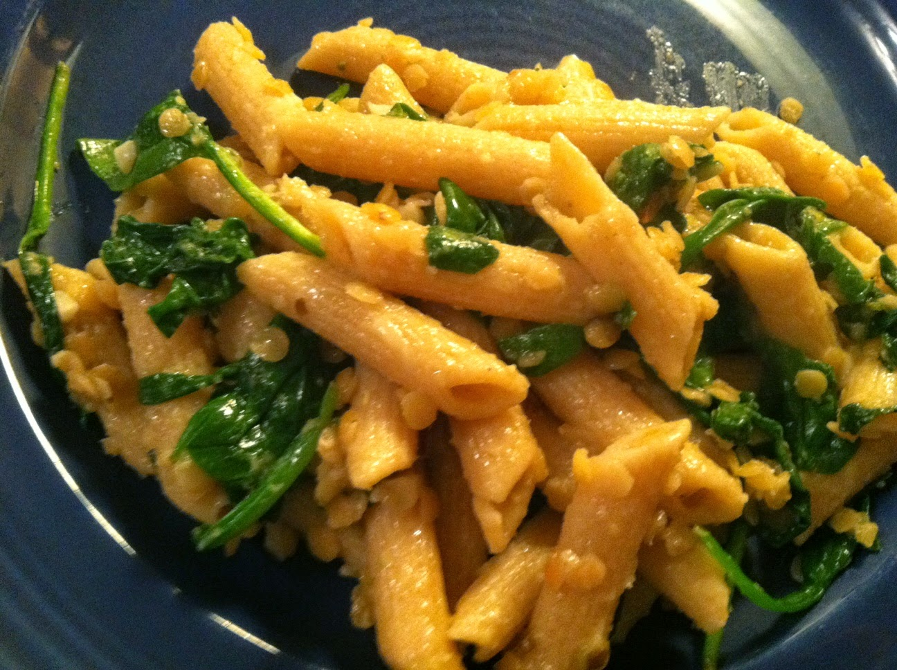 Penne with Baby Red Lentils and Ginger