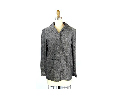 1970s Black and Silver Sparkle Glitter Blouse / Metallic Button Up Shirt / Gabby Blouse
