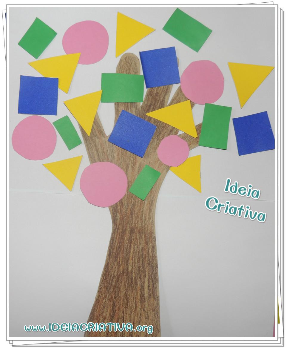 Atividade Dia da Árvore Figura Geométrica Contorno da Mão Colagem