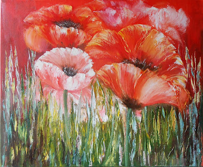 "Russian modern art Flowers Painting ""Poppies"" in style abstract impressionism for Interior, art therapy and improve feng shui. Oil on canvas, palette knife. Size original painting  19.7"" х 23.6 x 0.7"" (50cm x 60cm x 1.8cm)."