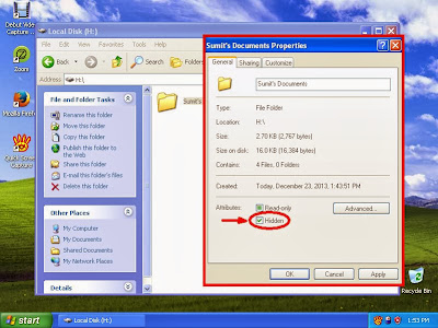 Learn how to hide files and folders in windowsXP step9