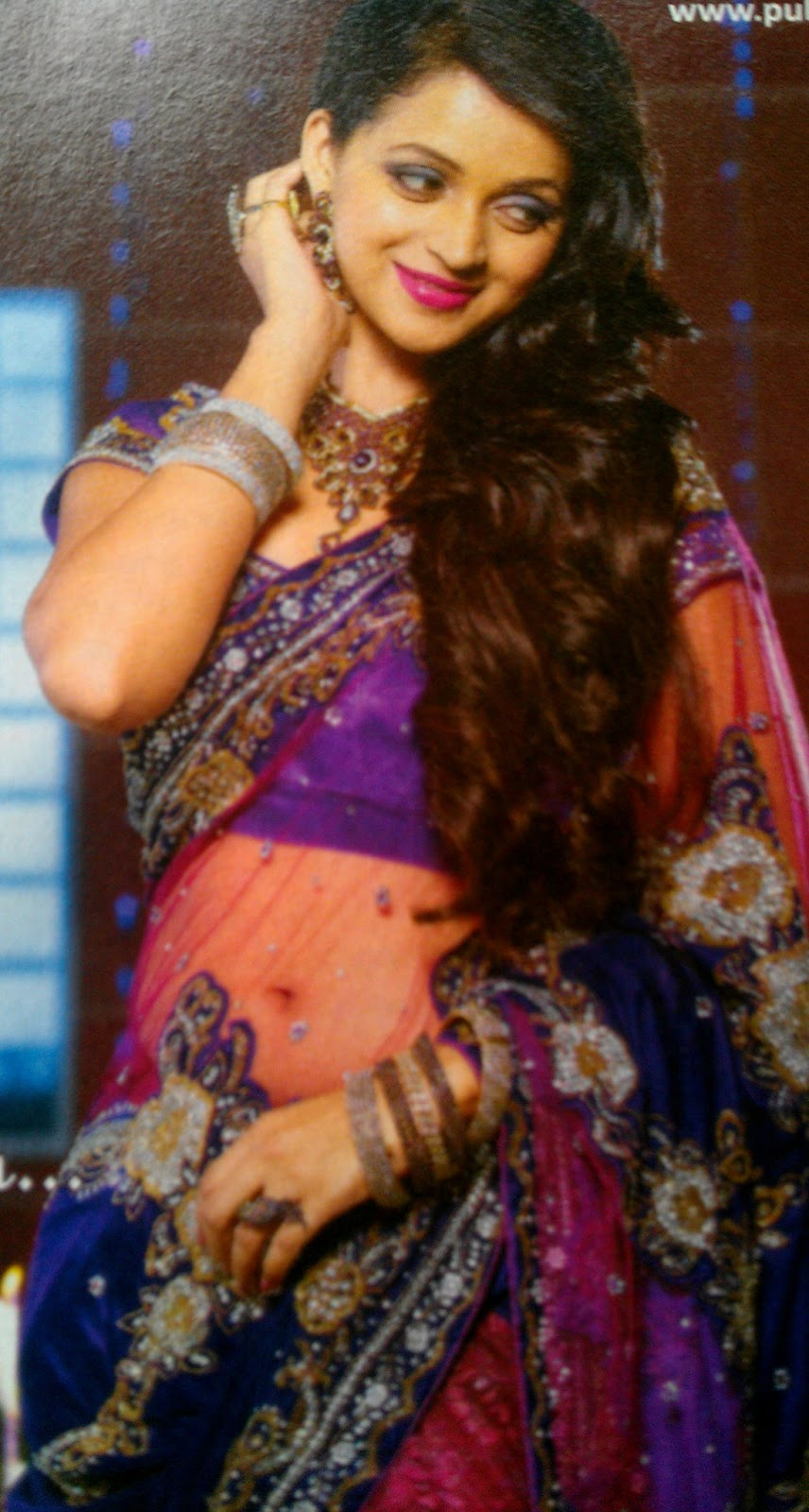 """... Bhavana latest navel show in see through saree """"pulimootil silks"""" ad"""