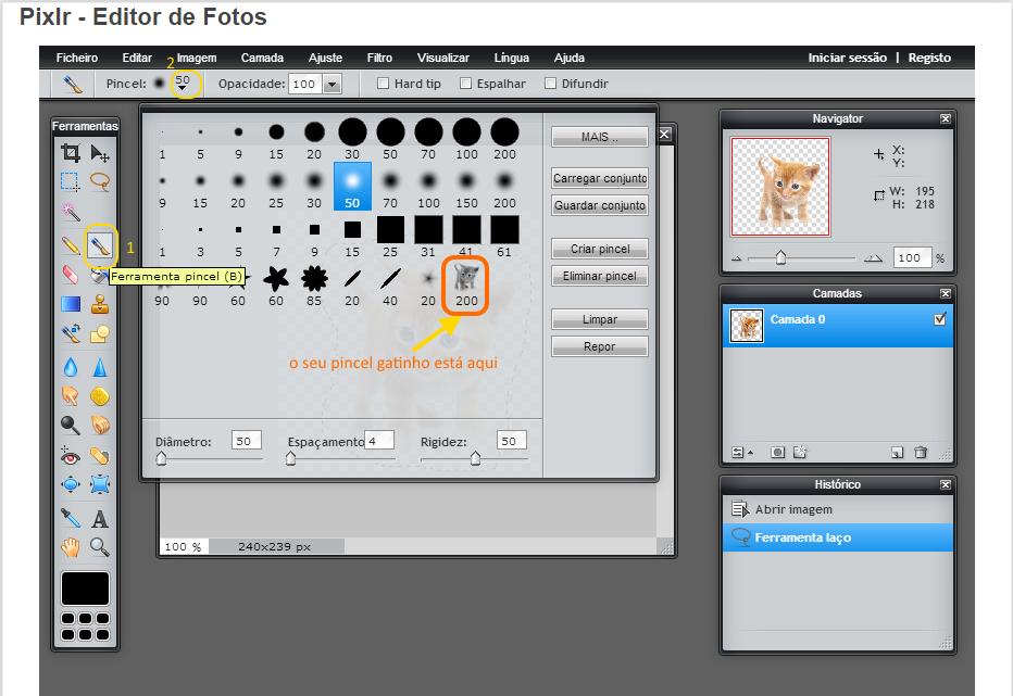 Criar pincel Pixlr -passo 3 - pincel gatinho