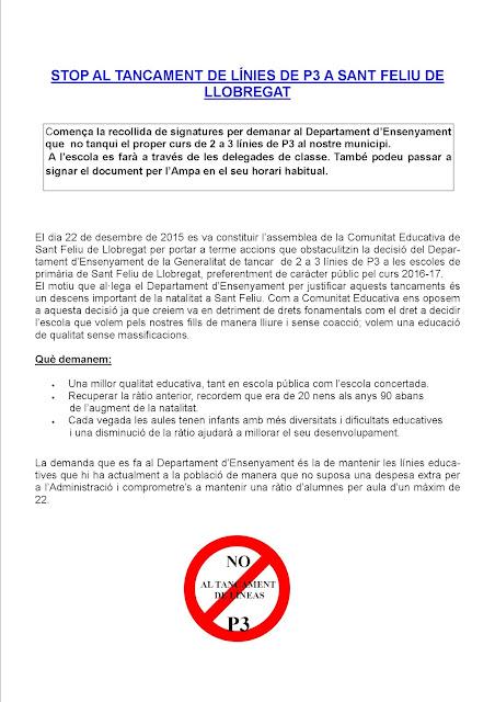 Declaració contra el tancament de línies de P3 a Sant Feliu