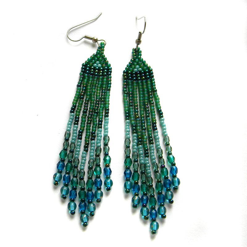 Seed bead earrings beaded jewelry dangle earrings