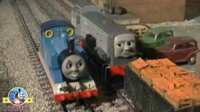 Dennis diesel watched Thomas the tank engine and friends biff and bump the railway trucks into place
