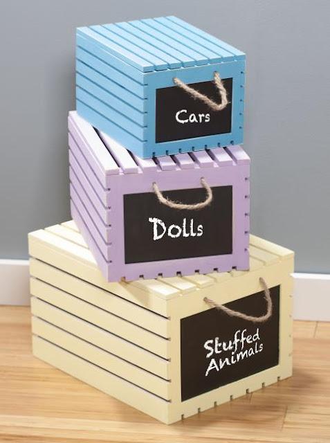 Wood Crate Storage Boxes @craftsavy, #craftwarehouse, americanachalkypaint, #storage