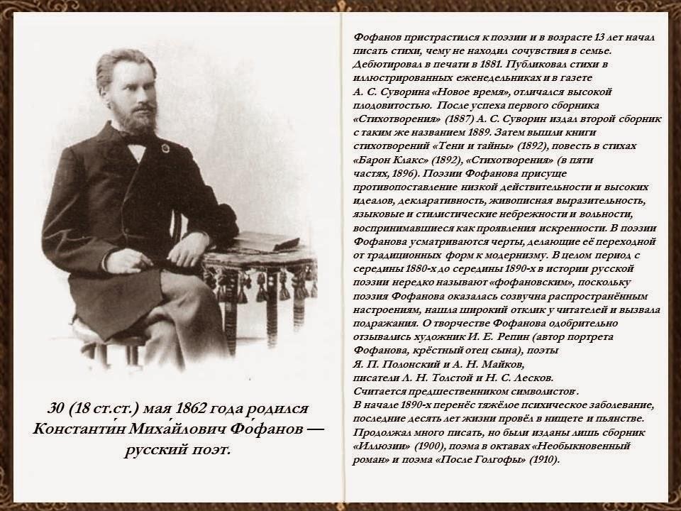 Библиотеки Аксая: Литературный календарь: Константин Михайлович Фофанов