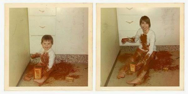 Divertidas recreaciones de viejas fotos familiares.