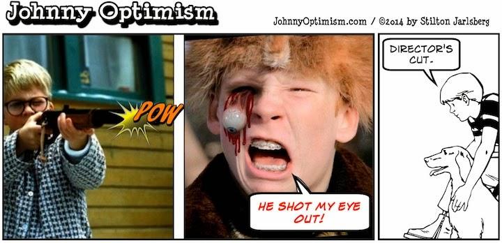 johnny optimism, medical, humor, sick, jokes, boy, wheelchair, doctors, hospital, stilton jarlsberg, christmas story, ralphie, shoot your eye out